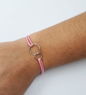 Bracelet 2 anneaux entrelacés en argent 925
