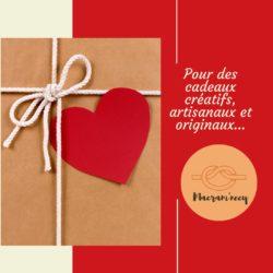 bon cadeau coeur rouge avec corde macramé
