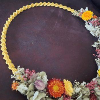couronne macramé fleurs