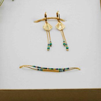 Parure bijoux doré bleu vert