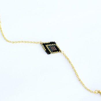 bracelet sisé losange noir doré