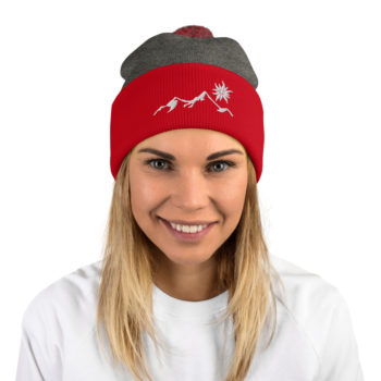 bonnet à pompon rouge et gris, motif montagne edelweiss