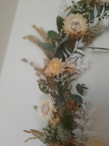 couronne macramé beige fleurs séchées détail fleurs séchées