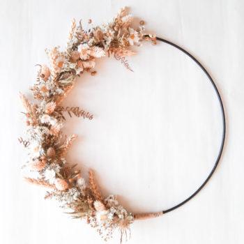 Ros'Arum Couronne de fleurs séchées champêtre tons blancs