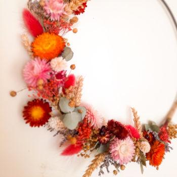 Ros'Arum couronnes fleurs séchées multicolore