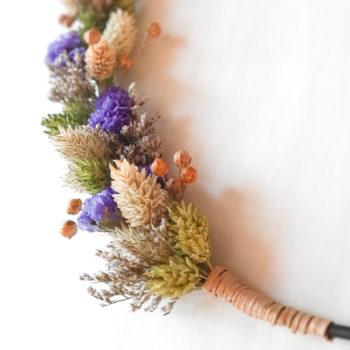 Ros'Arum Couronne fleurs séchées tons violet et vert