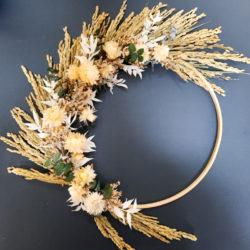 Ros'Afum couronne en bambou et fleurs séchées_tons naturels