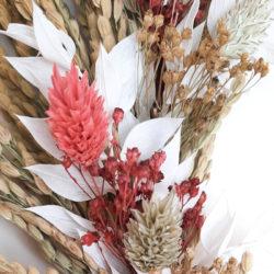 Ros'Arum_Couronnne de fleurs séchées_ tons naturels et roses_détails